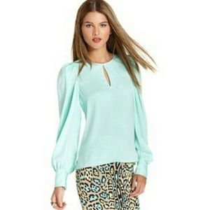 • bcbgmaxazria turquoise long sleeve keyhole top •